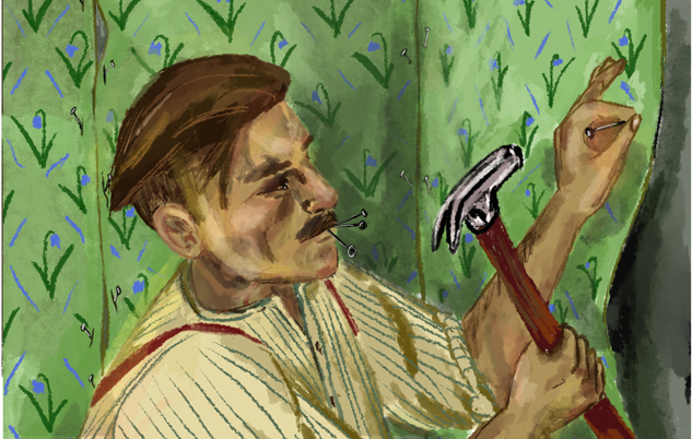 Drawing, where Arthur Shelby nails wallpapers to the wall