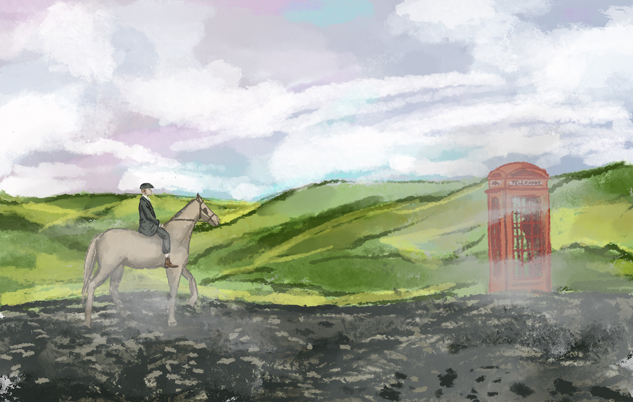 Drawing, where Thomas Shelby rides the horse.
