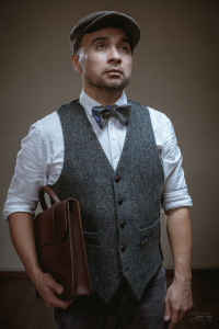 The man in Grey Tweed Waistcoat by Hatman of Ireland and Grey Tweed Bowtie by Garin X Tweed Hat