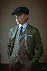 The man in Blue Tweed Kells 8-piece Cap by Hanna Hats