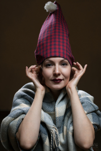 The woman in Flannel Red and Navy Check Nightcap SF2 by Lee Valley