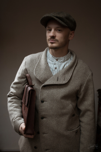 The man in Kells Tweed 8-piece Cap by Hanna Hats and Jacket Infundibulum
