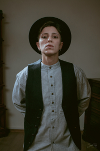 The woman in Hat by Hatfield and Vintage Flannel Grandfather Shirt with Thin Navy Stripes VR18 by Lee Valley Ireland