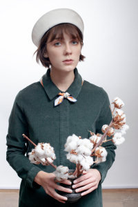 Woman with a bouquet of cotton