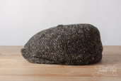 Black-orange Hatteras Herringbone Tweed 8-piece cap #315 by Stetson