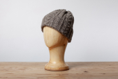 Grey-Brown Aran Knitted Cap by Kerry Woollen Mills
