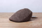 Brown Herringbone Tweed Touring Cap by Hanna Hats