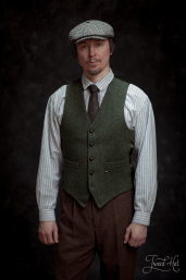 Green Herringbone Tweed Waistcoat by Hatman of Ireland