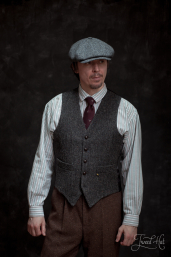 Grey Herringbone Tweed Waistcoat by Hatman of Ireland