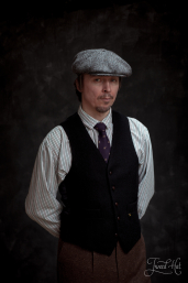 Black Herringbone Tweed Waistcoat by Hatman of Ireland