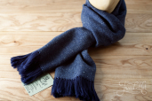 Blue-Grey Handwoven Herringbone Tweed Scarf by Old Pal