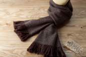 Brown Handwoven Herringbone Tweed Scarf by Old Pal
