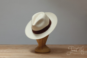 Natural Toquilla Straw Diamante Wide Brim Panama Hat by K.Dorfzaun, Brisa Weave