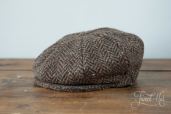 Brown Herringbone Tweed 8-piece Cap by Hanna Hats