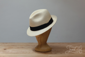 Natural Toquilla Straw Diamante Small Brim Panama Hat by K.Dorfzaun, Brisa Weave