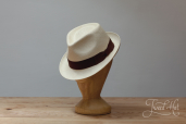 Natural Toquilla Straw Trilby Small Brim Panama Hat by K.Dorfzaun, Cuenca Weave