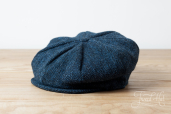 Blue Harris Tweed 8-piece Cap by Hanna Hats