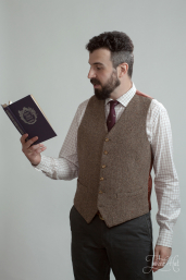 Brown Herringbone Tweed Waistcoat by Magee 1866