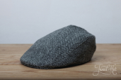 Grey Herringbone Harris Tweed Tailor Cap by Hanna Hats