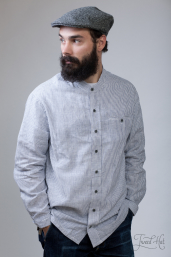 Linen Grandfather Shirt with Navy Stripes LN8 by Lee Valley Ireland