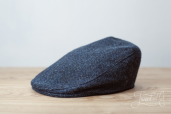 Blue Herringbone Harris Tweed Tailor Cap by Hanna Hats