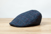 Blue Plaid Harris Tweed Touring Cap by Hanna Hats