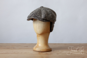 Ash-grey Herringbone Tweed Hatteras with Earflaps 8-piece cap #371 by Stetson