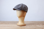 Grey Herringbone Tweed Woods 8-piece Cap by Hanna Hats