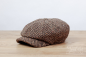 Brown Herringbone Tweed Kells 8-piece Cap by Hanna Hats