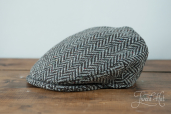 Grey Herringbone Tweed Cap by Hanna Hats