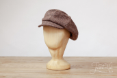 Brown Herringbone Tweed 8-piece Cap with Band by Hanna Hats