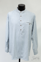 Flannel Grandfather Shirt with Double Blue Stripes LV2 by Lee Valley Ireland