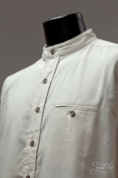 Linen Grandfather Shirt Natural Color LN7 by Lee Valley Ireland