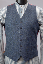 Blue Handwoven Donegal Tweed Waistcoat by Magee 1866