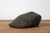Green Harris Tweed Touring Cap by Hanna Hats