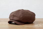 Brown Linen Woods 8-piece Cap by Hanna Hats