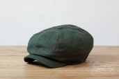 Green Linen Woods 8-piece Cap by Hanna Hats