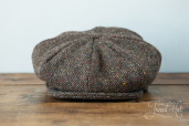 Brown Tweed 8-piece Cap by Hanna Hats