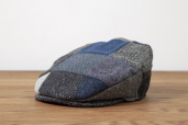 Blue/Grey Patchwork Tweed Vintage Cap by Hanna Hats