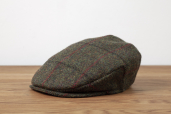 Green Plaid Harris Tweed Vintage cap by Hanna Hats