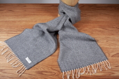 Grey Herringbone Lambswool Scarf by McNutt of Donegal