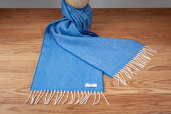 Blue Herringbone Lambswool Scarf by McNutt of Donegal