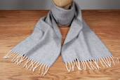 Light-grey Herringbone Lambswool Scarf by McNutt of Donegal