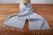 Sky Gray Herringbone Lambswool Scarf by McNutt of Donegal