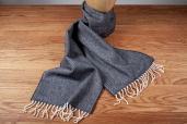 Black Large Herringbone Lambswool Scarf by McNutt of Donegal