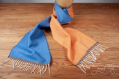 Orange/Blue Herringbone Double-sided Lambswool Scarf by McNutt of Donegal