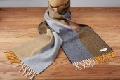 Grey/Yellow Herringbone Lambswool Scarf by McNutt of Donegal