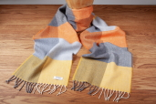 Orange/Grey Check Herringbone Lambswool Scarf by McNutt of Donegal