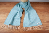 Turquoise Donegal Tweed Lambswool Scarf by McNutt of Donegal