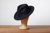 Black Furfelt Fedora Hat with Silk Lining by Tonak